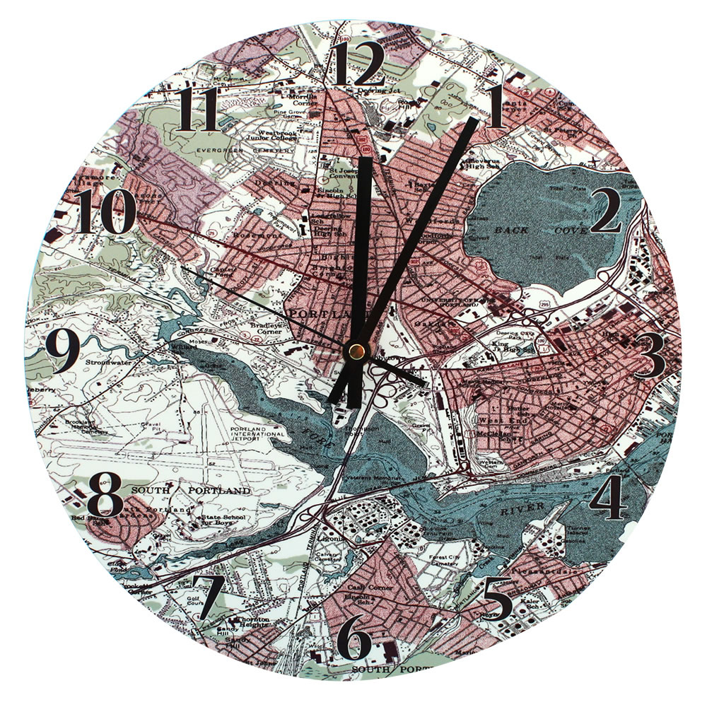 Personalized Topographic Map Clock   Hammacher Schlemmer