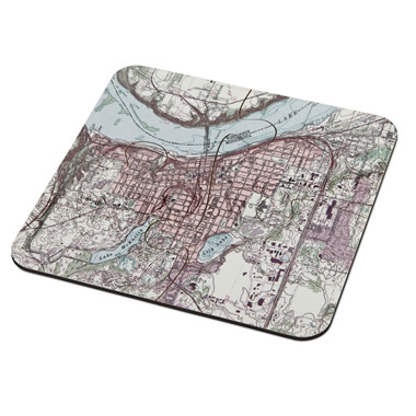 The Personalized Topographic Map Coasters - Set assembled