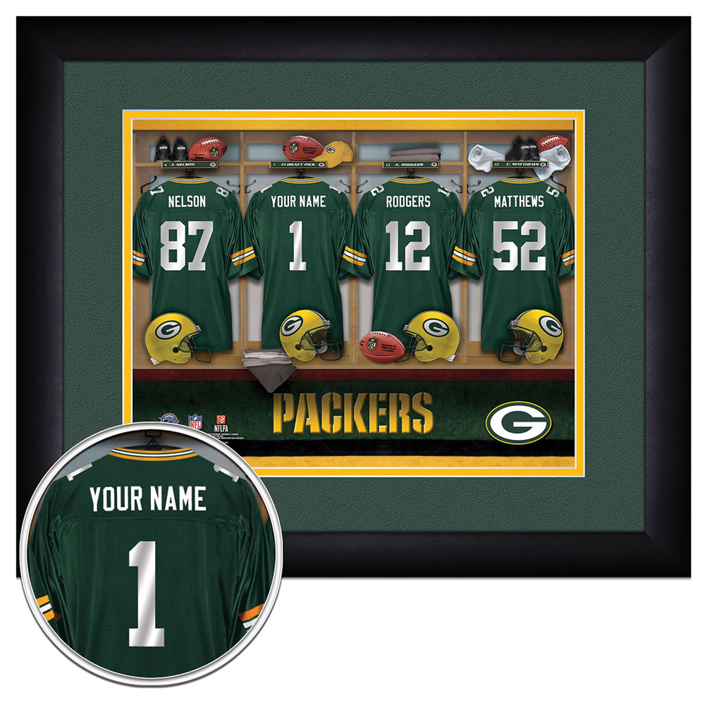 ab94410ee1f The Personalized NFL Locker Room Print - Hammacher Schlemmer