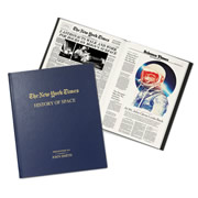 """This is the personalized book of New York Time articles that focus on space throughout the years. Procured from the archives of The Times, each book presents momentous highlights that span the beginnings of the """"Space Race"""" from the first satelllite, the Soviet's Sputnik, to President Kennedy, who vowed to make the U.S. the first country to land a man on the moon. It covers both the tragedies and triumphs of the U.S. space program, from the bitter loss of the Apollo 1 and the Challenger disaster as well the overwhelming nationalism that resulted from the U.S. landing the first man on the moon. It also covers Sally Ride, the first woman in space, the Space Shuttle program and potential commercial space travel. The bound book disp"""