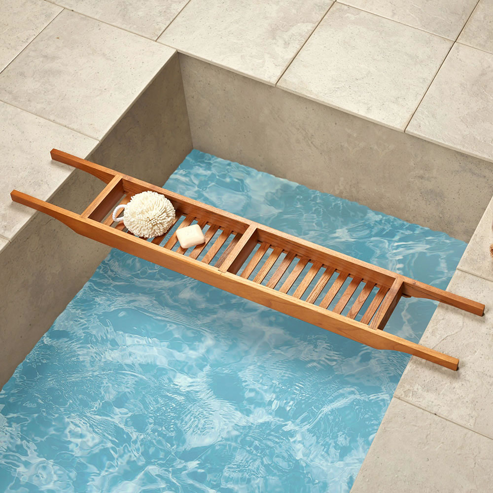 The Genuine Teak Tub Caddy - Hammacher Schlemmer