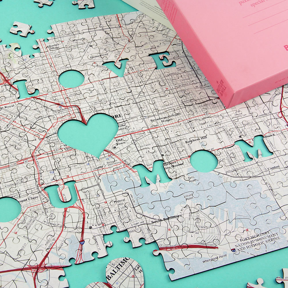 The I Love You Mom Personalized Map Puzzle Hammacher Schlemmer