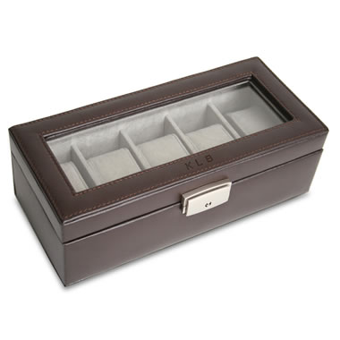 The Monogrammed Five Watch Leather Display Case