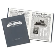 This is the collection of 20th century historical front pages reproduced from the archives of the New York Times—some inspiring, some heartbreaking, but all memorable. The book contains more than 80 iconic moments, reprinted exactly as they first appeared in the Times, beginning with the deadly 1904 fire on the steamboat General Slocum and ending with the 1999 celebration of the new millennium. In between, readers will retrace the century's most memorable events, from the sinking of the Titanic in 1914, to V-E Day in 1945, to Neil Armstrong's moon walk in 1969. Each story has been digitally re-mastered in black-and-white, printed on off-white paper, and bound within pewter-gray leatherette covers. The front cover can be pe