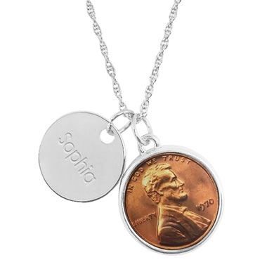 Year To Remember Personalized Penny Pendant Silver