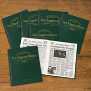 """This is the personalized book of LA Times news reports from a decade of your choice. Procured from the archives of Los Angeles Times, each book presents over 100 news reports of major events from that decade in black and white on off-white paper.Traditionally bound, it displays the recipient's name, """"Los Angeles Times"""", and the decade stamped in gold on the green leatherette cover. Specify recipient's name (up to 22 characters), a personalized message (up to 150 characters), and the decade (1930-1980). Name is also printed inside the book on a personalized label. Hardcover. 15"""" H x 12 1/2"""" W. (3 3/4 lbs.)"""
