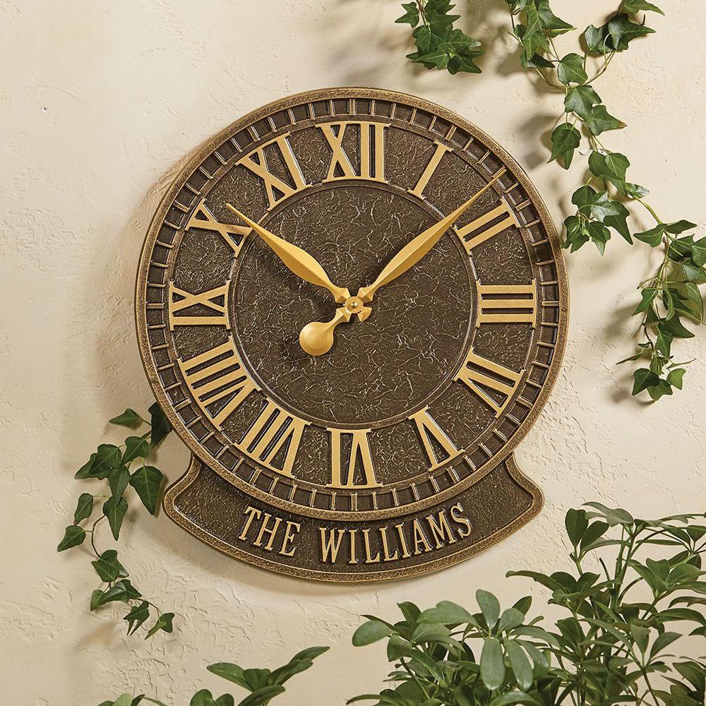 The Personalized Patio Clock Geneva Hammacher Schlemmer