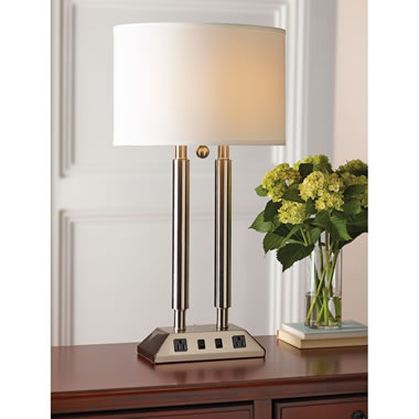The Dual Charging Desk Lamp (Brushed Steel) - Charges electronic devices