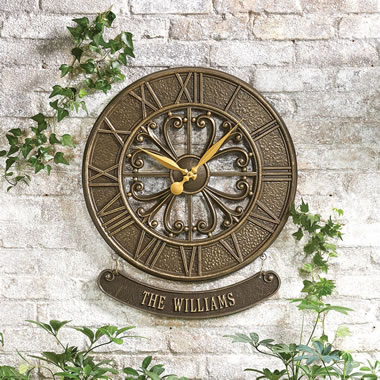The Personalized Patio Clock (Villanova) - Front view