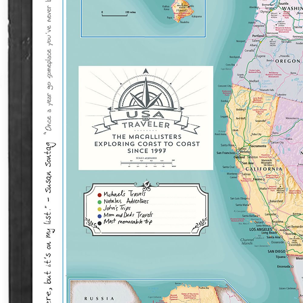 The Custom Description Travel Us Map Hammacher Schlemmer - Custom-us-map