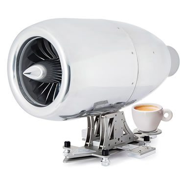 The Jet Engine Espresso Machine - Machine and cup of coffee shown