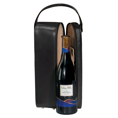 The Monogrammed Leather Wine Travel Tote