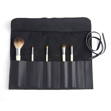 The Monogrammed Leather Cosmetic Brush Wrap