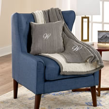 The Monogrammed Chenille Cable Knit Throw