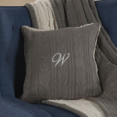 The Monogrammed Chenille Cable Knit Pillow Gray
