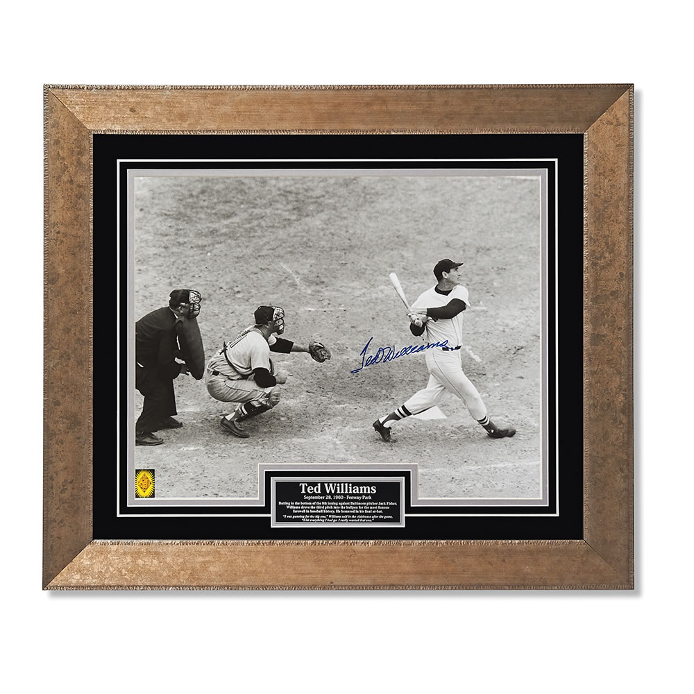 The Autographed Ted Williams Final Swing Photo Hammacher