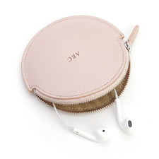 The Monogrammed Leather Earbud Case