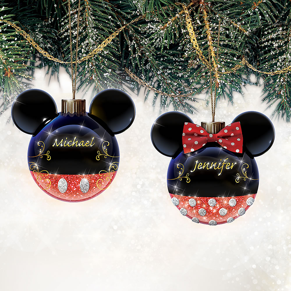 The Personalized Mickey And Minnie Ornaments Hammacher