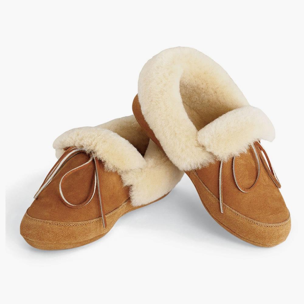 The Androscoggin Sheepskin Slippers Hammacher Schlemmer