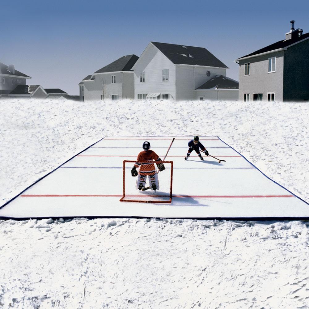 the portable backyard ice rink 37 foot hammacher schlemmer