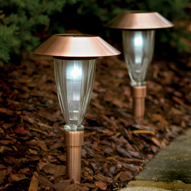 The Copper-Housed Solar White Pathway Light.