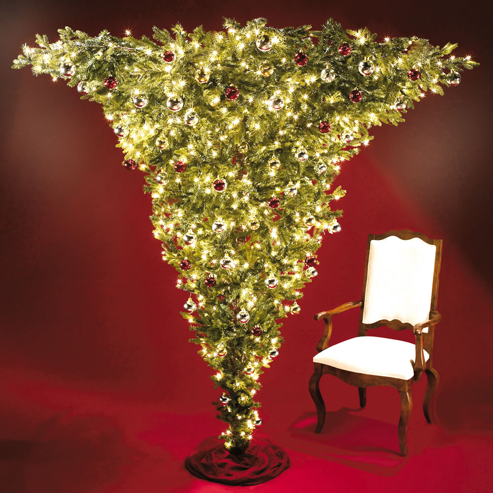 the 7 foot upside down pre lit christmas tree - Pre Lit Christmas Trees