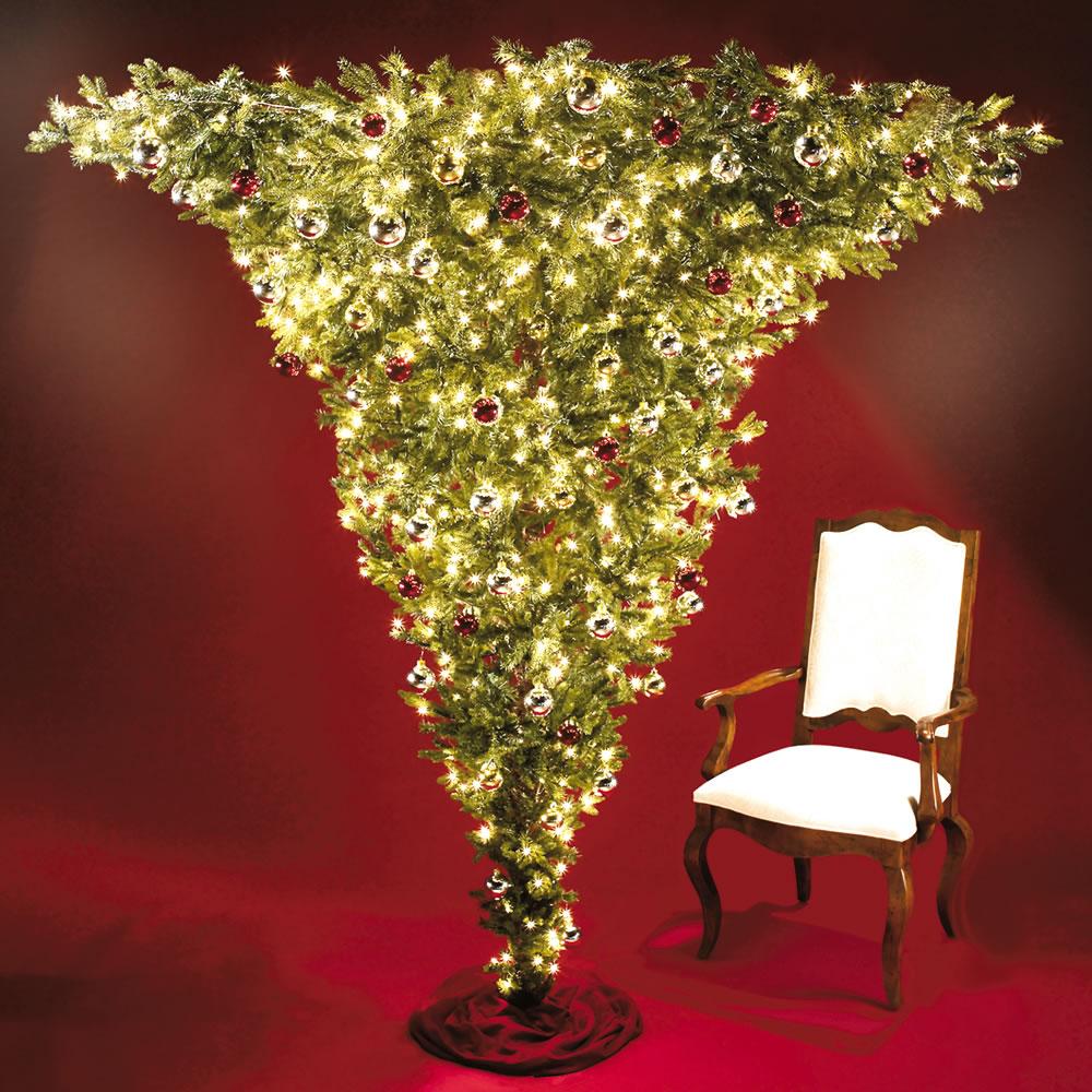 The 7-Foot Upside-Down Pre-Lit Christmas Tree - Hammacher Schlemmer