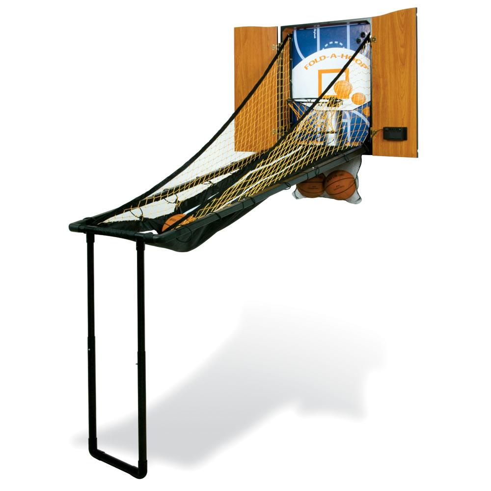 The Wall Mounted Fold Out Basketball Game - Hammacher Schlemmer