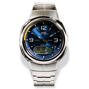 The Digital/Analog Atomic Time Watch with Stainless Steel Band and Blue Face.