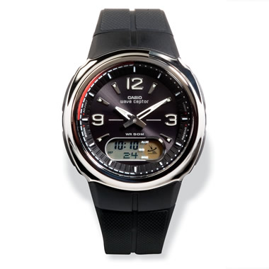 The Digital/Analog Atomic Time Watch with Polyresin Band and Black Face.