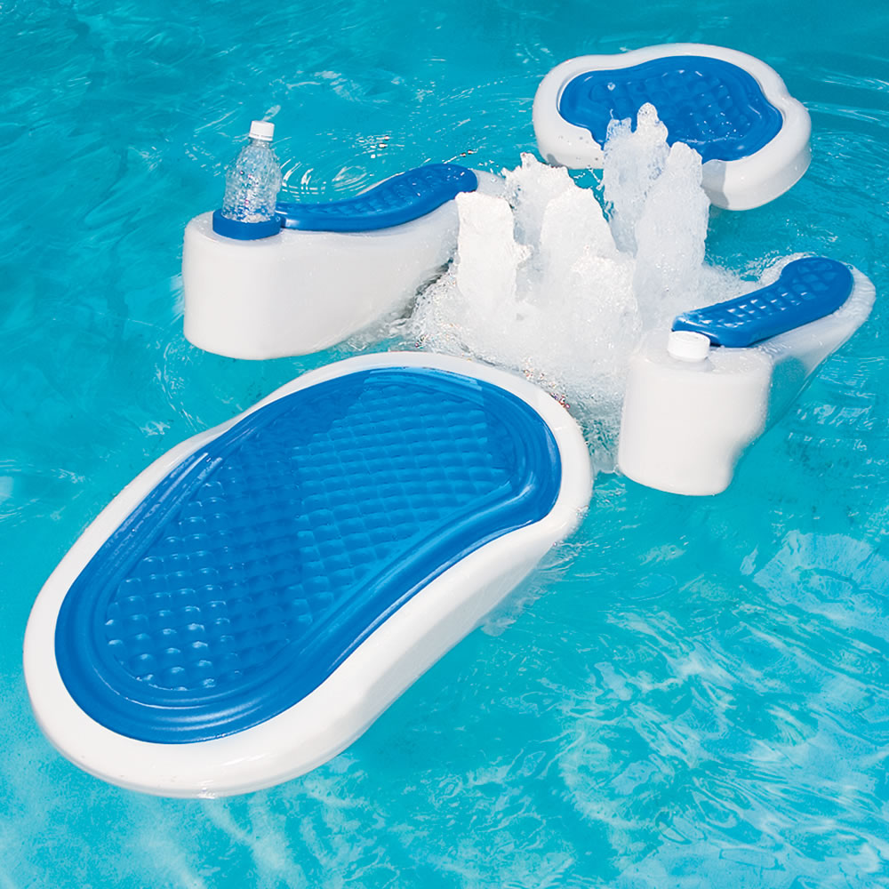 The hydro massage pool float hammacher schlemmer for Best rated inflatable swimming pool