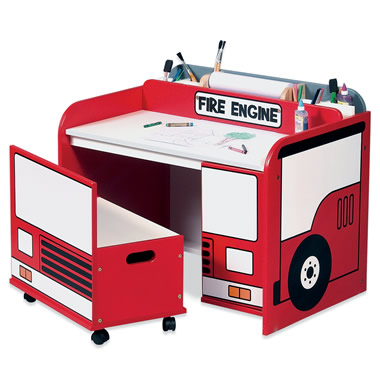 The Fire Engine Toy Box Art Desk.