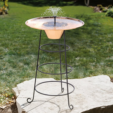 The Continuously Freshening Solar Powered Copper Birdbath.