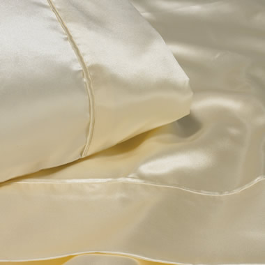 The King 22-Momme Silk Satin Sheets.