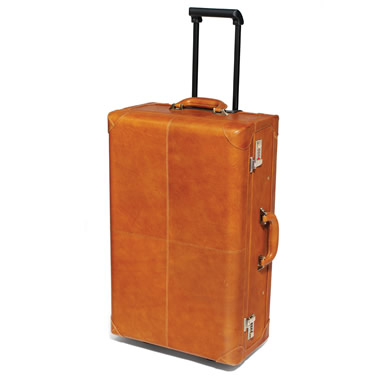 The Classic Railway Travel Rolling Leather Suitcase.
