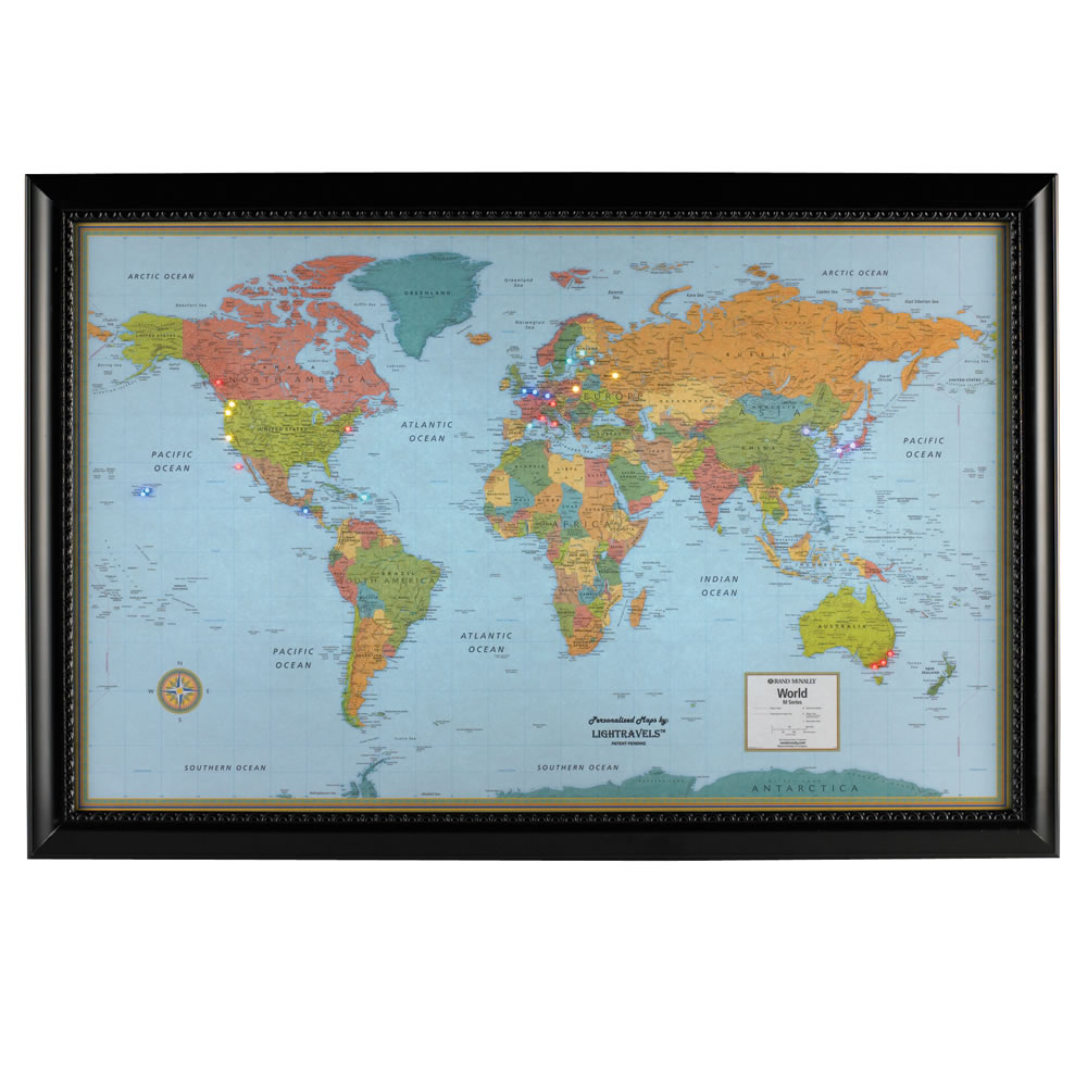 The track your travels lighted world map hammacher schlemmer gumiabroncs Choice Image