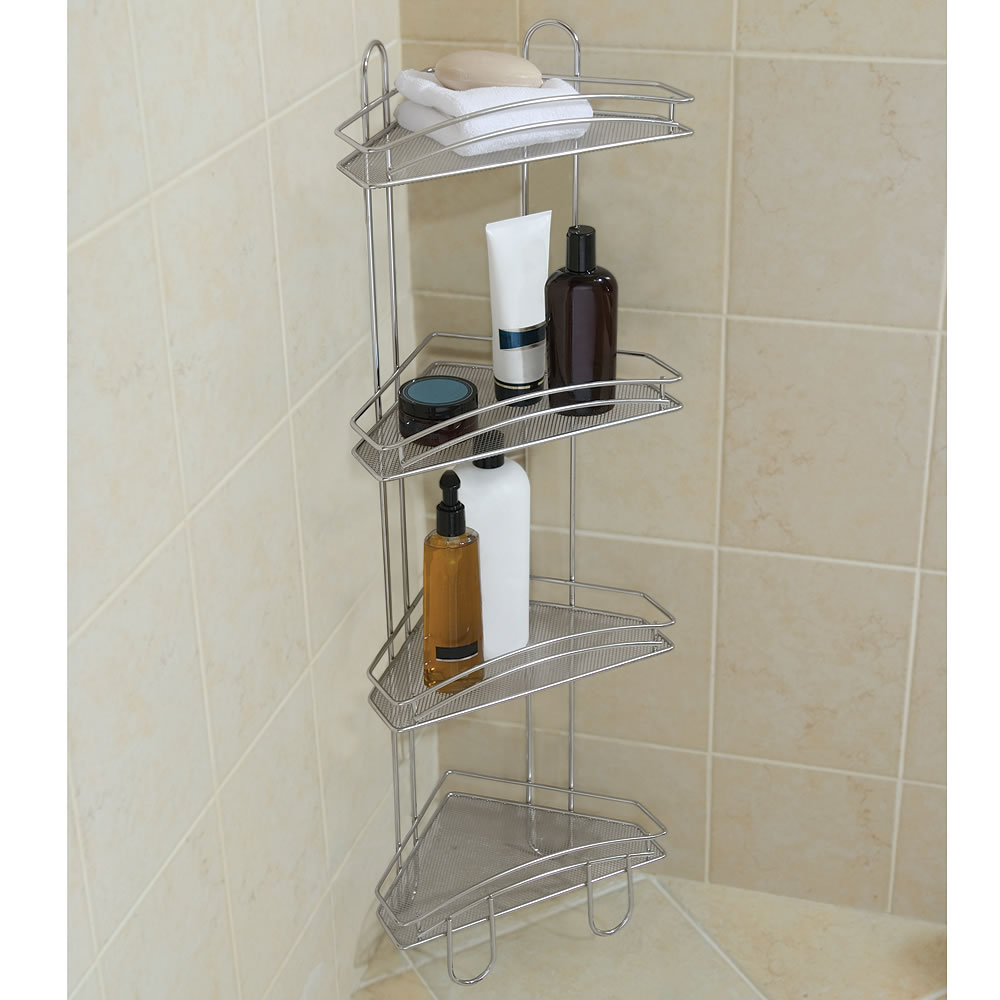 improvement pdp steel shower tension simplehuman aluminum caddy home stainless anodized