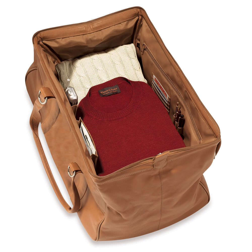 The Rolling Widemouth Leather Weekend Bag Tan Case Shown Open Packed
