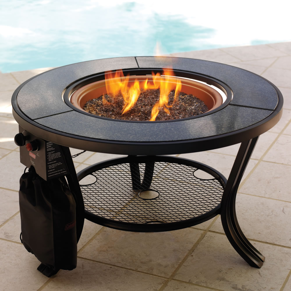 The Propane Firepit Cocktail Table Hammacher Schlemmer - Propane fire pit cocktail table