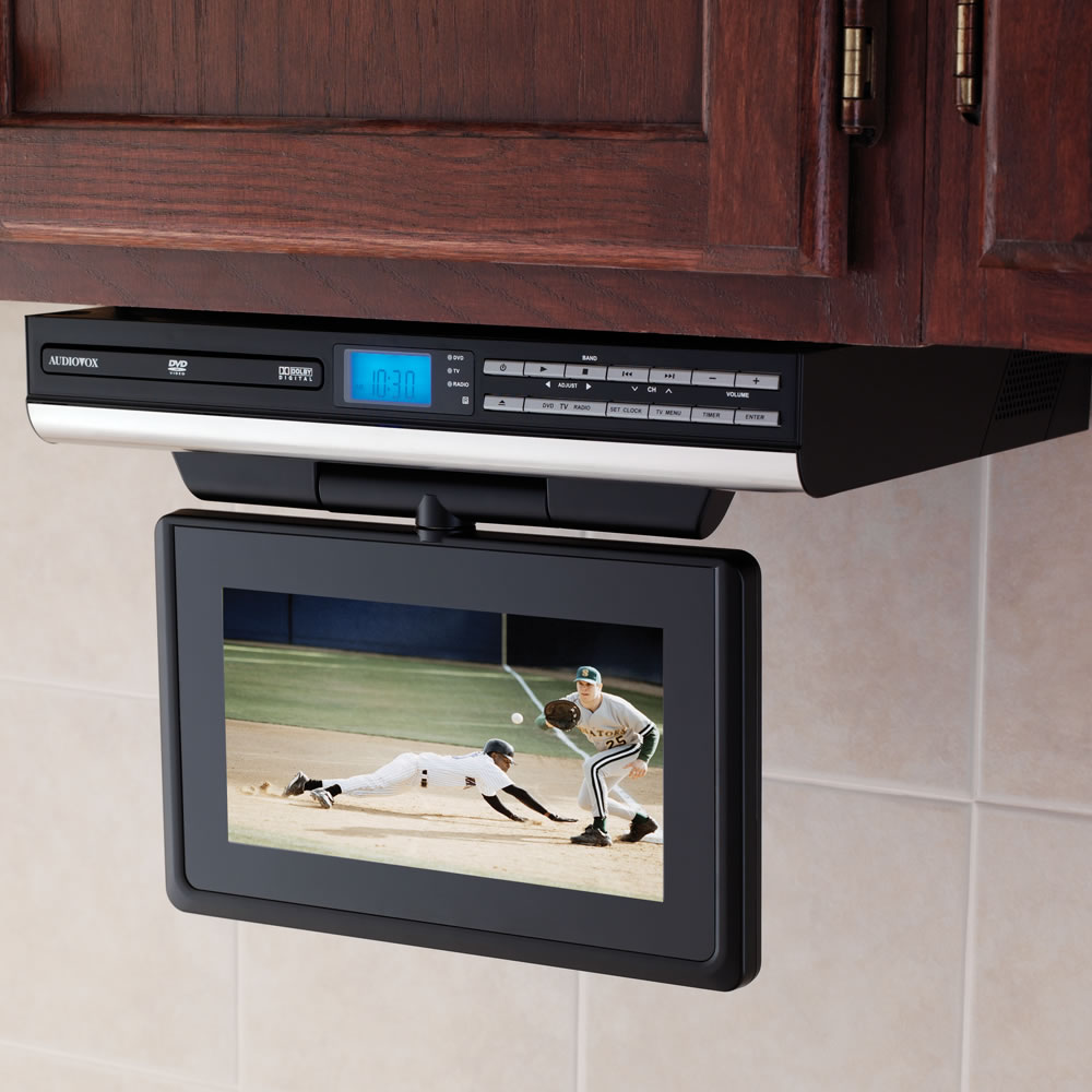 Interior Under Kitchen Cabinet Tv the under cabinet tv with dvd player hammacher schlemmer player