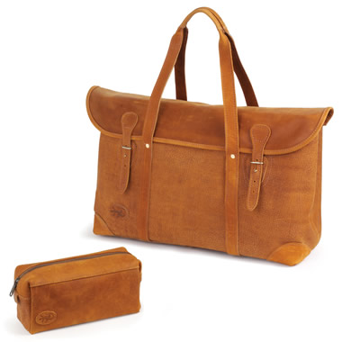 The Camel Leather Toiletry Kit.