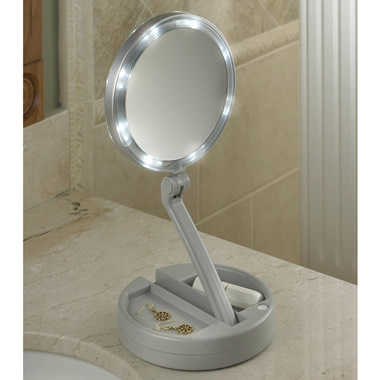 The Foldaway Lighted Vanity Mirror