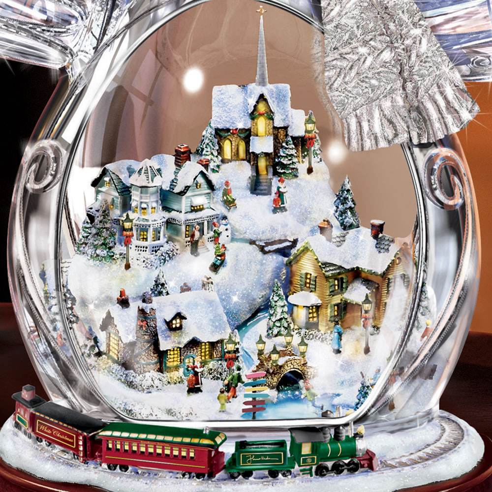 The Thomas Kinkade Illuminated Crystal Snowman - Hammacher Schlemmer
