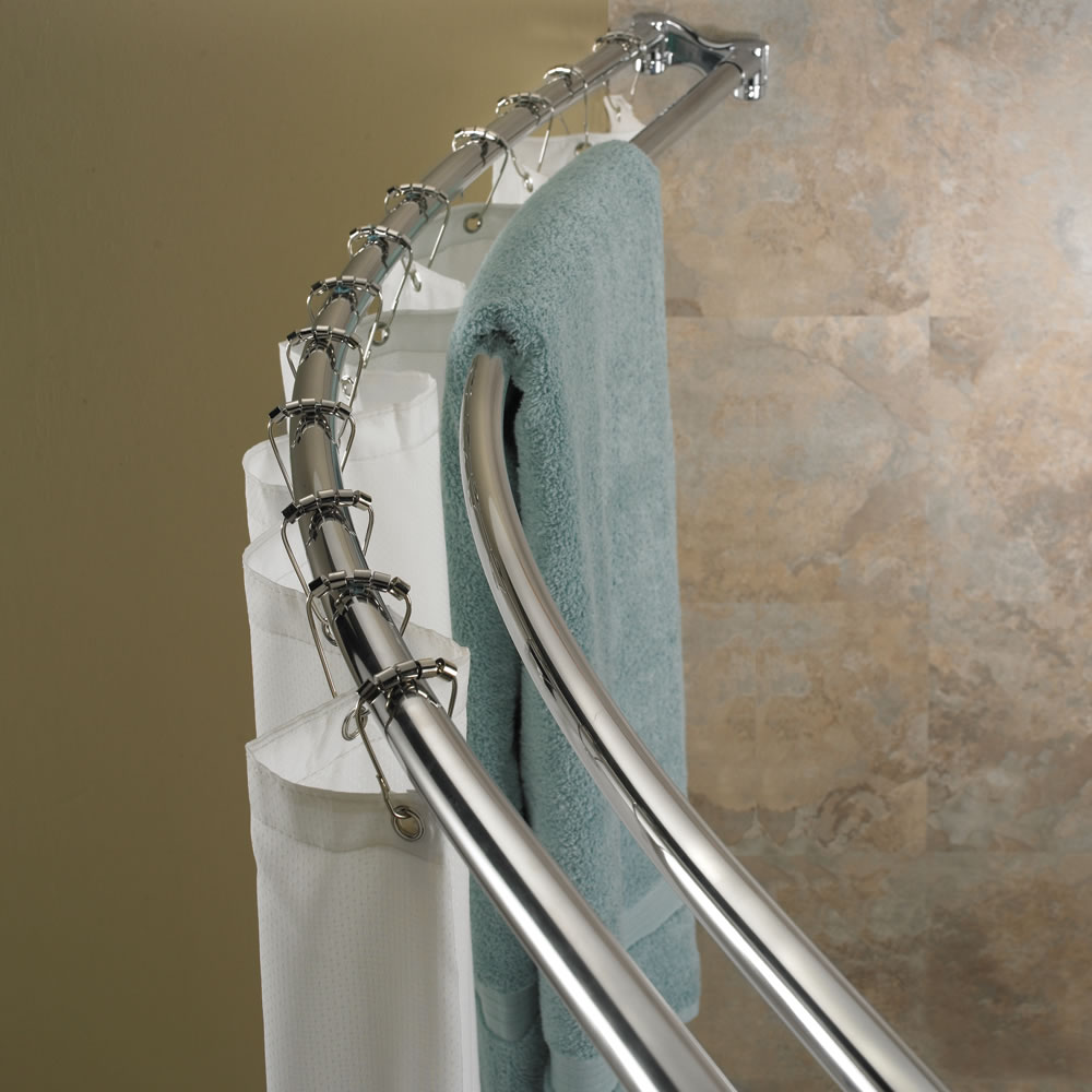 The Double Bar Space Saving Shower Rod - Hammacher Schlemmer