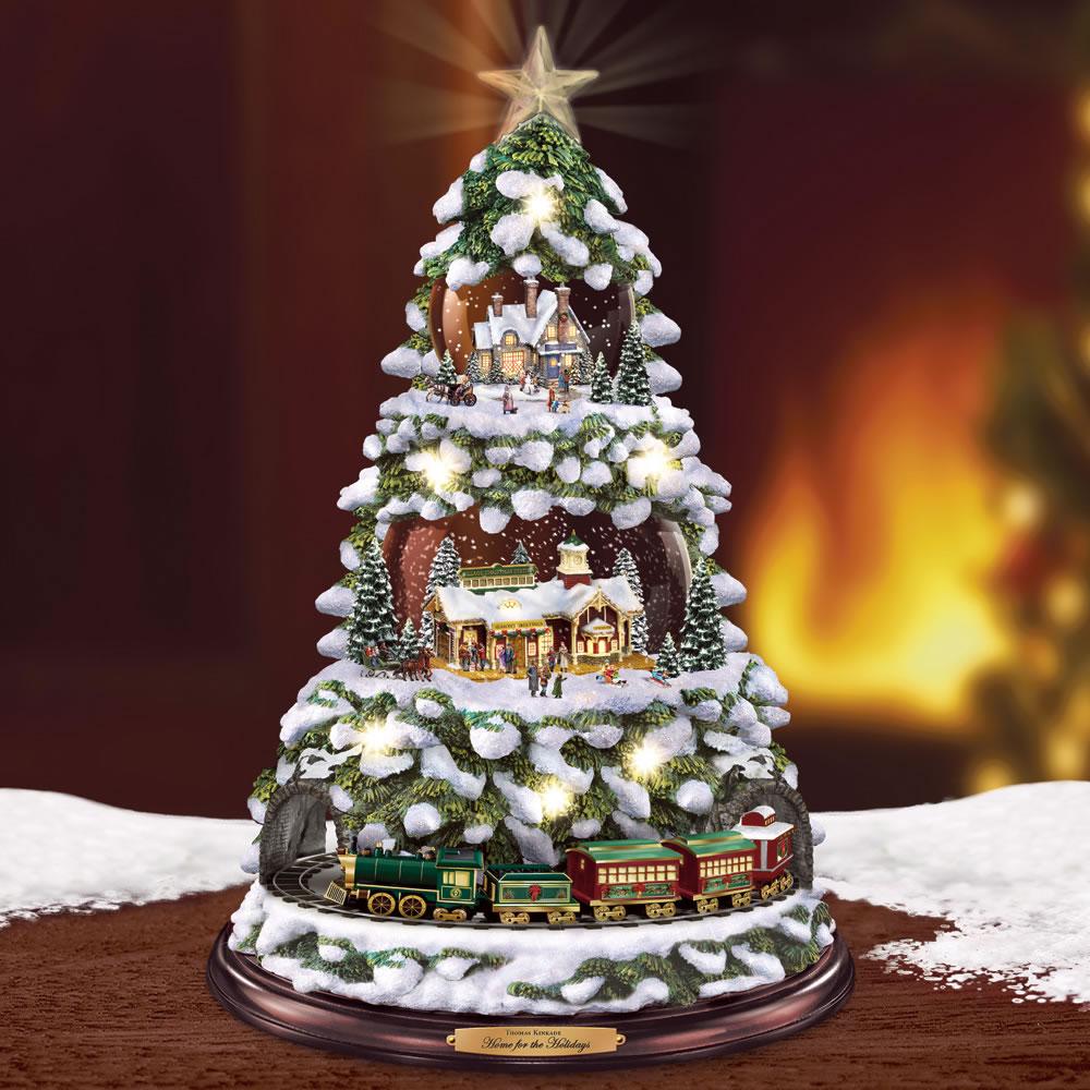 the thomas kinkade animated tree village - Christmas Tree Village