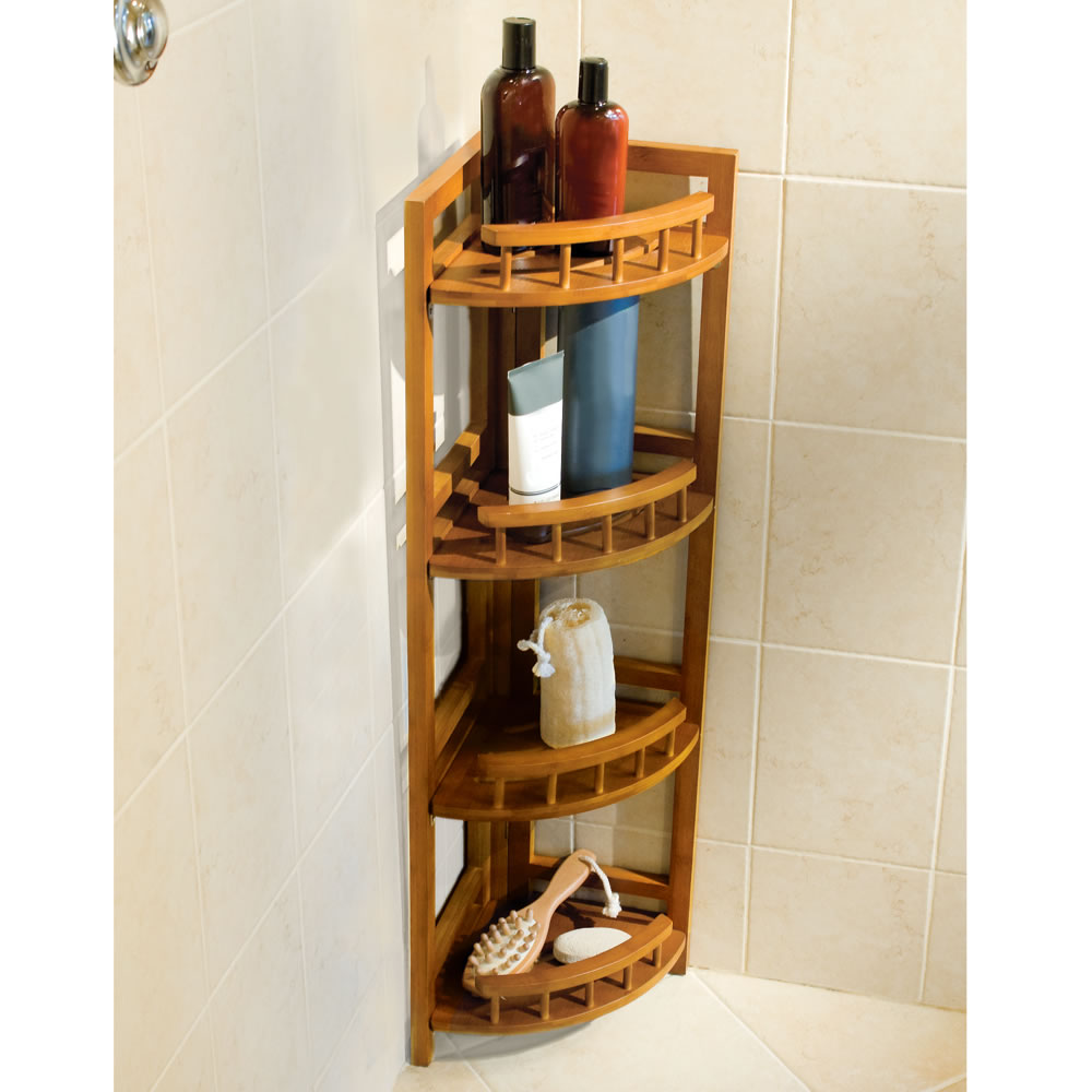 bathroom floor caddy the bamboo shower organizer hammacher schlemmer 10622