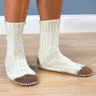The Hand Knit Aran Slipper Socks