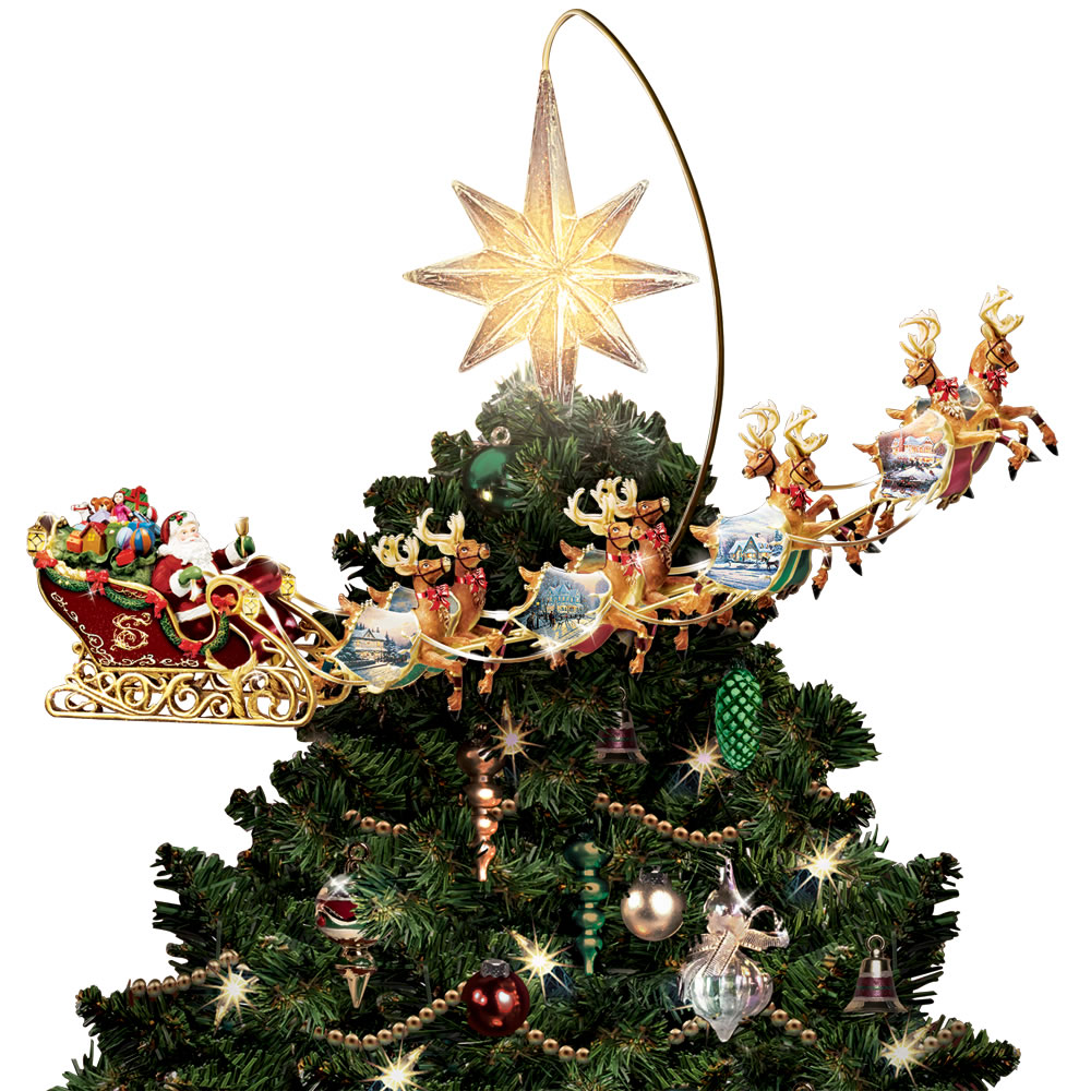 the thomas kinkade revolving christmas tree topper close up of santas sleigh - Motorized Christmas Decorations