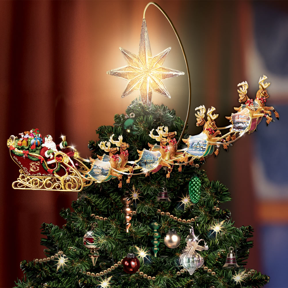 Christmas Tree Topper.The Thomas Kinkade Revolving Christmas Tree Topper
