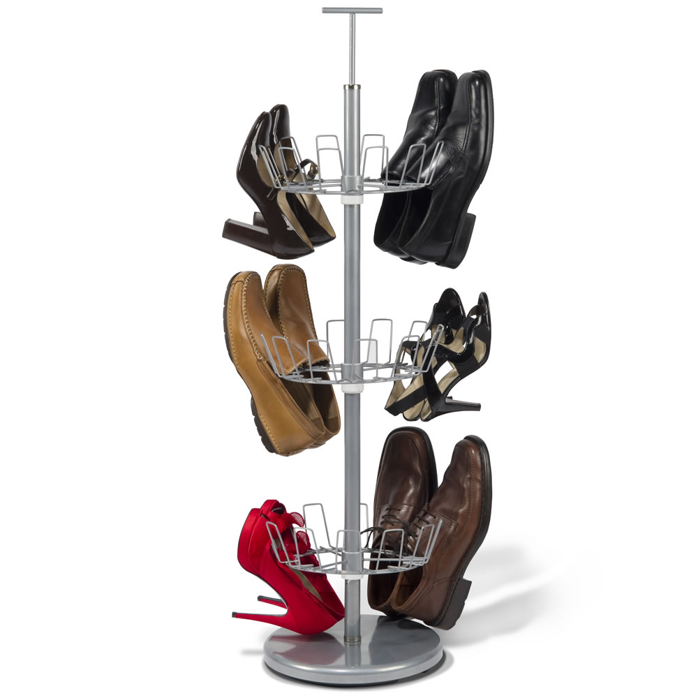 The space saving 18 pair shoe rack hammacher schlemmer - Shoe rack designs for small spaces decoration ...